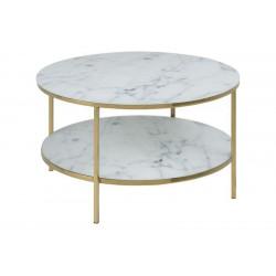 Stolik kawowy Alisma okrągły z półką Mar able/Gold