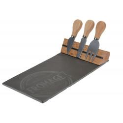 Zestaw deska do sera i 3 noże Rock