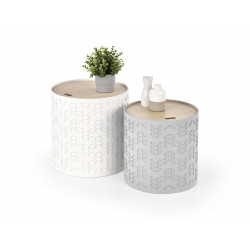 ALBA zestaw dwóch ław z pojemnikiem biały / popiel - Halmar