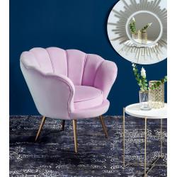AMORINO fotel wypoczynkowy fioletowy, nogi - złote - Halmar