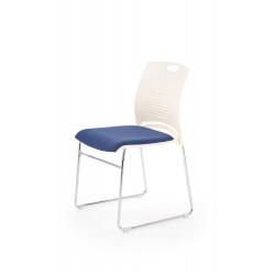 CALI fotelik konferecyjny stelaż - chrom, siedzisko - biały / niebieski - Halmar
