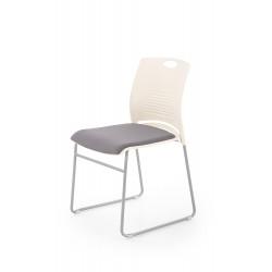 CALI fotelik konferecyjny stelaż - chrom, siedzisko - biały / popiel - Halmar