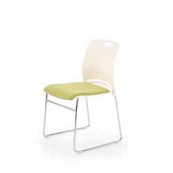 CALI fotelik konferecyjny stelaż - chrom, siedzisko - biały / zielony - Halmar