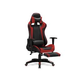 DEFENDER 2 fotel gabinetowy z podnózkiem czarny / czerwony - Halmar