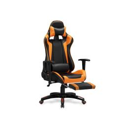 DEFENDER 2 fotel gabinetowy z podnózkiem czarny / pomarańczowy - Halmar
