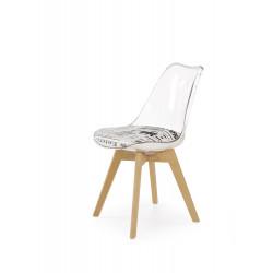 K246 krzesło poliwęglan / buk / siedzisko - biało - czarne - Halmar