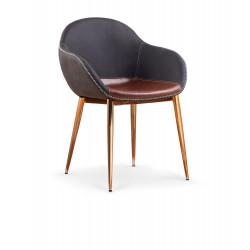 K304 krzesło ciemny popiel / brązowy / złoty chrom - Halmar