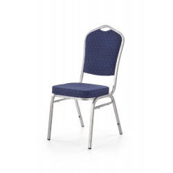 K68 krzesło konferecyjne stelaż - srebrny młotkowy, tapicerka - niebieski - Halmar