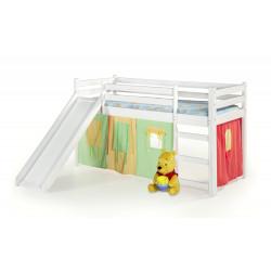 NEO PLUS - łóżko piętrowe ze zjeżdżalnią i materacem - biały ( 4p1szt ) - Halmar