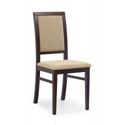 SYLWEK1 krzesło ciemny orzech, tkanina / tap: Torent Beige - Halmar