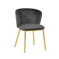 Krzesło MANDY ciemny szary - welur, podstawa złota