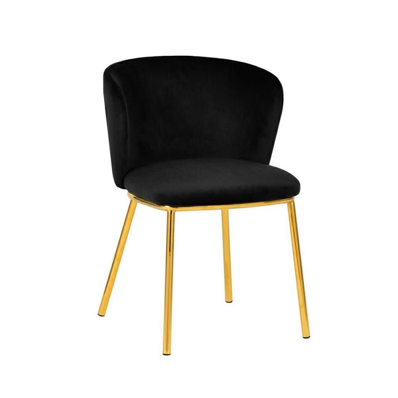 Krzesło MANDY czarne - welur, podstawa złota