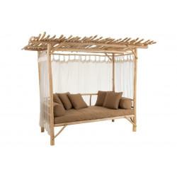 Ławka Loveseat Z Poduszkami Drewno Natur alne