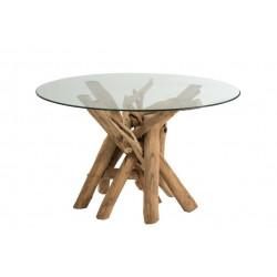 Stół Branch okrągły Drewno / Szkło Natur alne