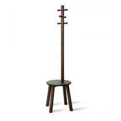 Wieszak oraz stołek Pillar czarny/orzech