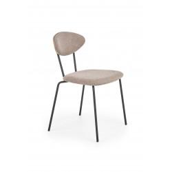 K361 krzesło, tapicerka -  jasny brąz / orzech, nogi - czarny - Halmar