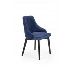 TOLEDO 3 krzesło czarny / tap. velvet pikowany Karo 4 - MONOLITH 77 (granatowy) - Halmar