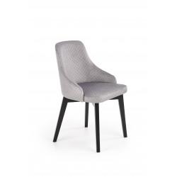 TOLEDO 3 krzesło czarny / tap. velvet pikowany Karo 4 - MONOLITH 85 (jasny popiel) - Halmar