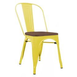 Krzesło TOWER WOOD żółte - sosna antyczna, metal