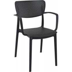 Krzesło Loft z podłokietnikami czarne