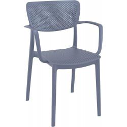 Krzesło Loft z podłokietnikami szare