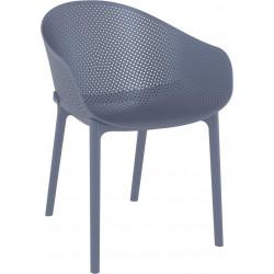 Krzesło Sky z podłokietnikami szare