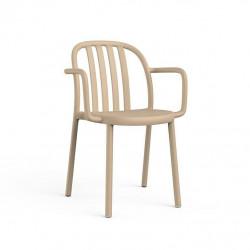 Krzesło Sue Lama z podłokietnikami piask owe