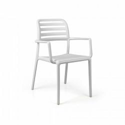 Krzesło Costa z podłokietnikami białe - Nardi