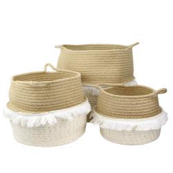 Zestaw 3 koszy Negros naturalne/ białe - Intesi
