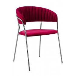Krzesło MARGO SILVER burgund - welur, podstawa chromowana