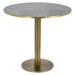 Stół okrągły Corby II 80cm HPL ciemny ma rmur/ złoty brzeg - Cheers