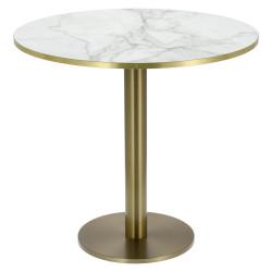 Stół okrągły Corby II 80cm HPL marmur/ złoty brzeg - Cheers