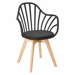 Krzesło Sirena z podłokietnikami czarne - Intesi