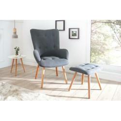 INVICTA fotel z podnóżkiem SCANDINAVIA  - tkanina, drewno