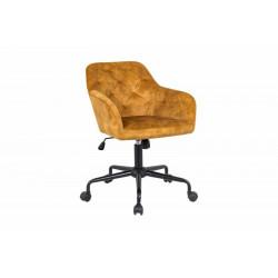 INVICTA fotel biurowy DUTCH COMFORT  zółty - aksamit, metal