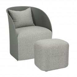 Fotel z podnóżkiem Puri szary - Intesi