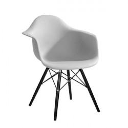 Fotel DAW BLACK jasny szary.05 - polipropylen, podstawa drewniana czarna