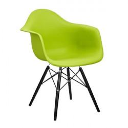 Fotel DAW BLACK soczysta zieleń.13 - polipropylen, podstawa drewniana czarna