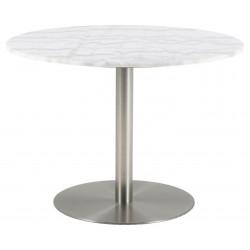 Stół okrągły Corby marmur/srebrny 105cm - ACTONA