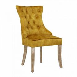 INVICTA krzesło CASTLE żółte - aksamit, drewno, metal