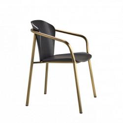 Krzesło Finn z podłokietnikami bejcowane czarne bronz - SCAB Design
