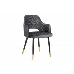 INVICTA krzesło PARIS AKSAMIT szare - aksamit, metal
